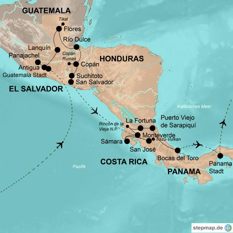 Costa Rica Karte Mittelamerika.Guatemala Honduras El Salvador Costa Rica Und Panama World